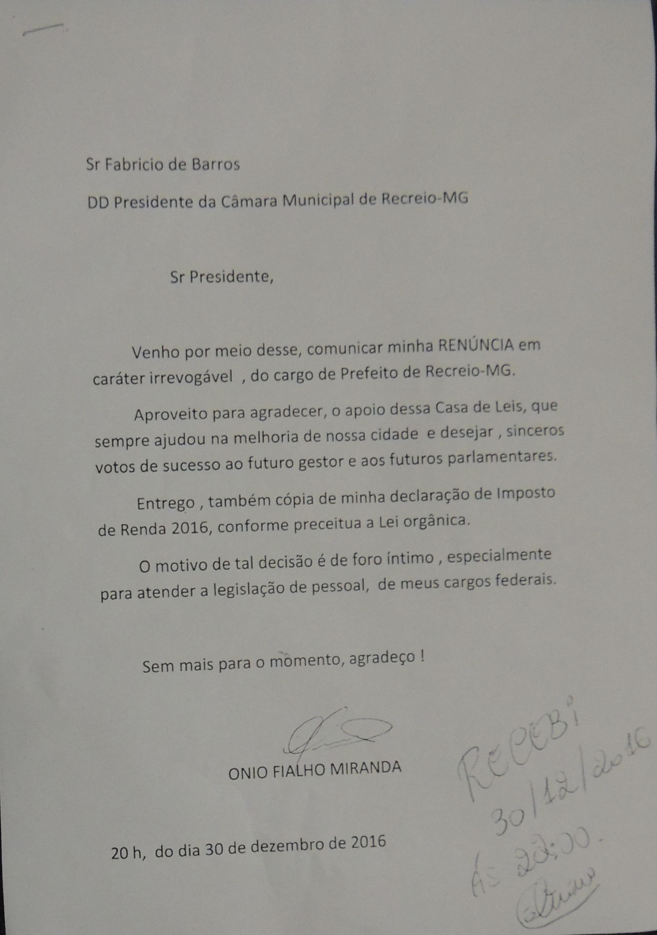 Carta de renúncia do prefeito Ônio.