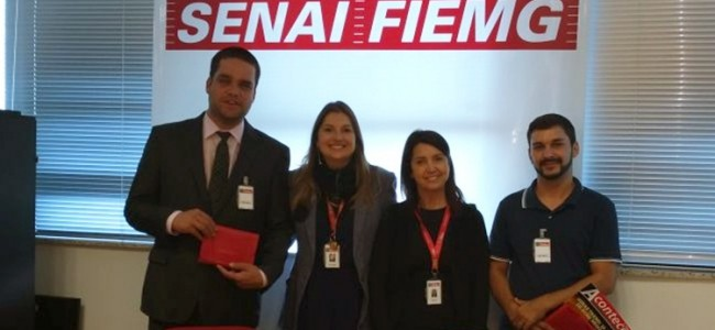 Diego Pena, Marcelo Andrade e ao centro coordenadoras da FIEMG.