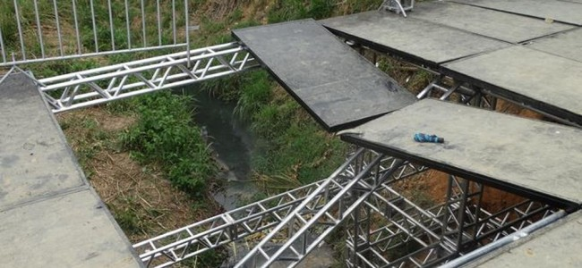 Local da ponte danificado. Foto: Silvan Alves.